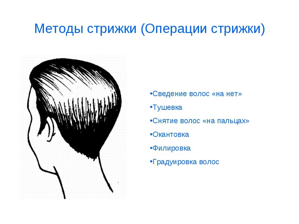 Методы стрижки (Операции стрижки) Сведение волос «на нет» Тушевка Снятие воло...