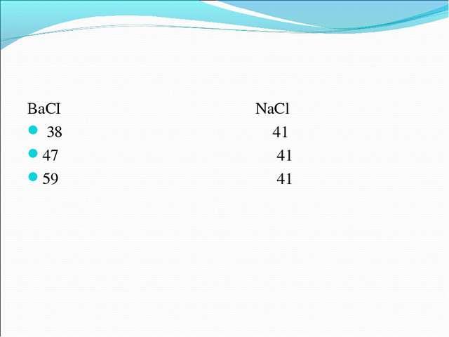 ВаСI NaCl 38 41 47 41 59 41