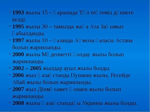 1993 жылы 15 – қарашада Төл теңгеміз дүниеге келді. 1995 жылы 30 – тамызда ж...
