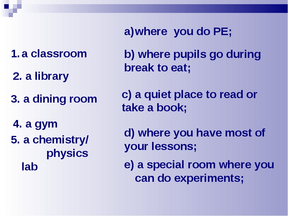 5. a chemistry/ physics lab e) a special room where you can do experiments; a...