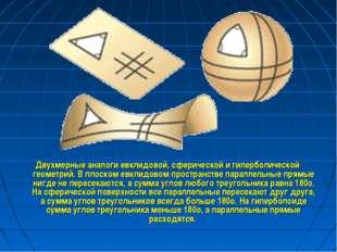 Двухмерные аналоги евклидовой, сферической и гиперболической геометрий. В пло
