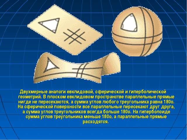 Двухмерные аналоги евклидовой, сферической и гиперболической геометрий. В пло...