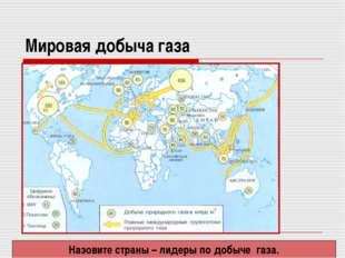 Мировая добыча газа Назовите страны – лидеры по добыче газа.