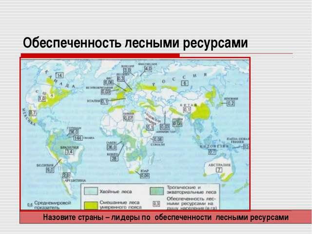 Обеспеченность лесными ресурсами Назовите страны – лидеры по обеспеченности л...