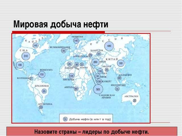 Мировая добыча нефти Назовите страны – лидеры по добыче нефти.