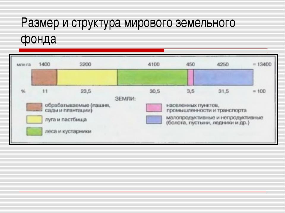 Размер и структура мирового земельного фонда