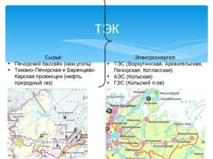 ТЭК Сырьё: Печорский бассейн (кам.уголь) Тимано-Печорская и Баренцево-Карская