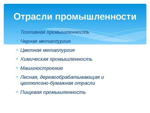Топливная промышленность Черная металлургия Цветная металлургия Химическая пр...