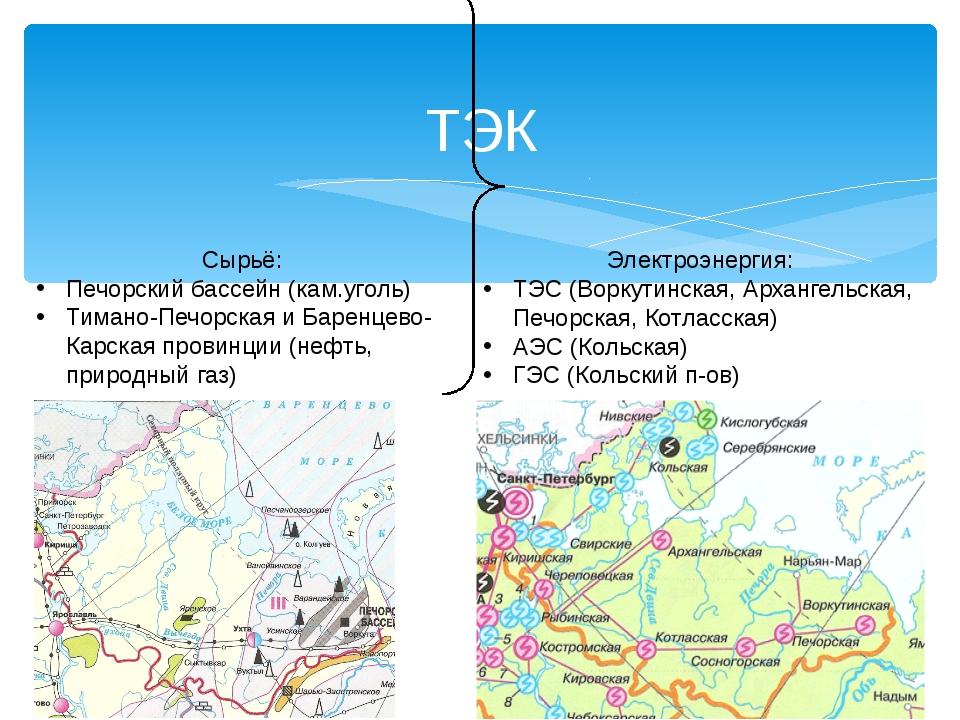 ТЭК Сырьё: Печорский бассейн (кам.уголь) Тимано-Печорская и Баренцево-Карская...