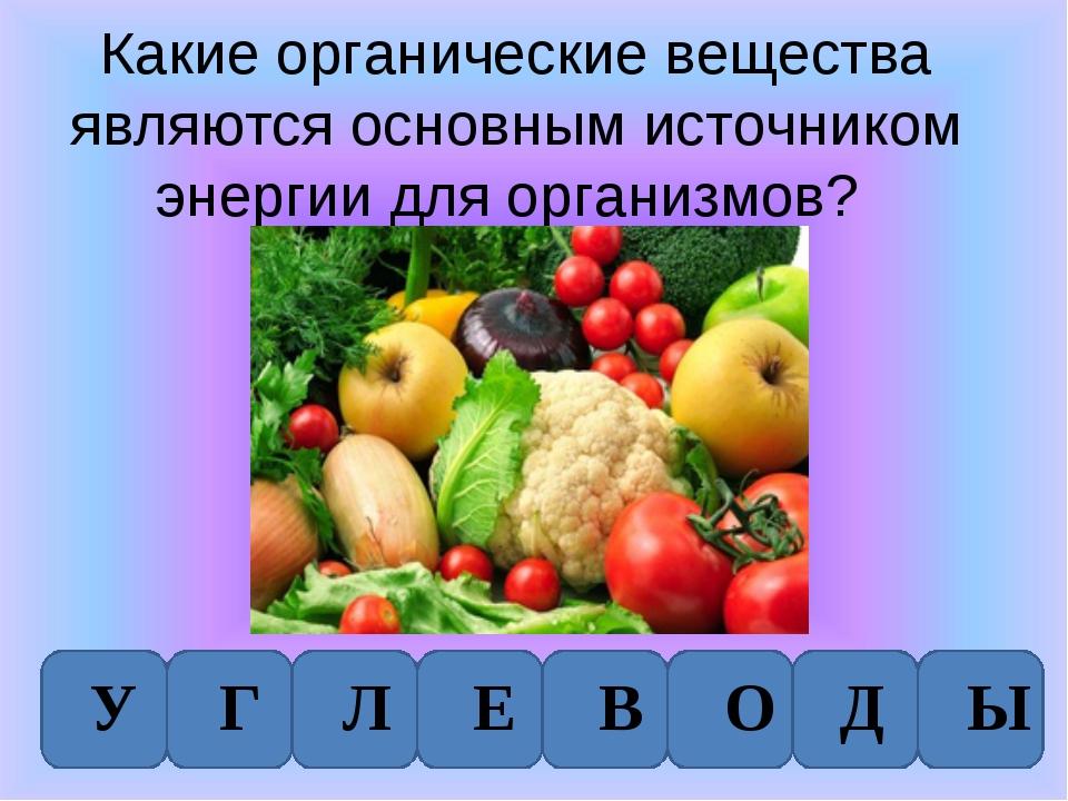 Какие органические вещества являются основным источником энергии для организм...
