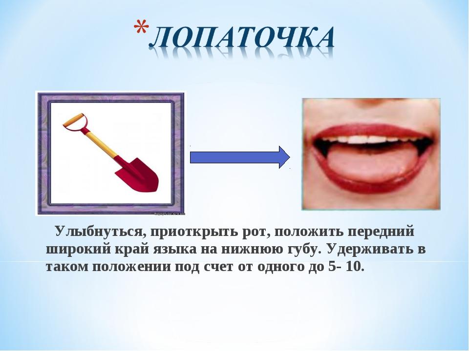 Улыбнуться, приоткрыть рот, положить передний широкий край языка на нижнюю г...