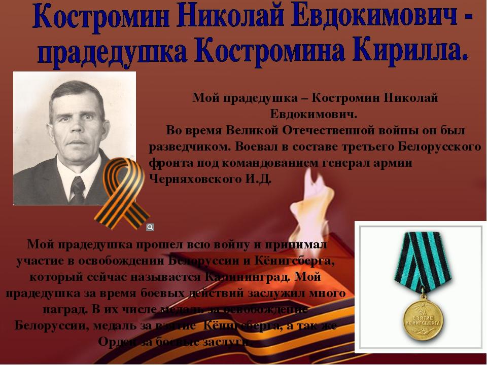 Мой прадедушка – Костромин Николай Евдокимович. Во время Великой Отечественно...