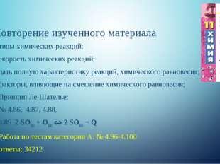 Повторение изученного материала типы химических реакций; скорость химических