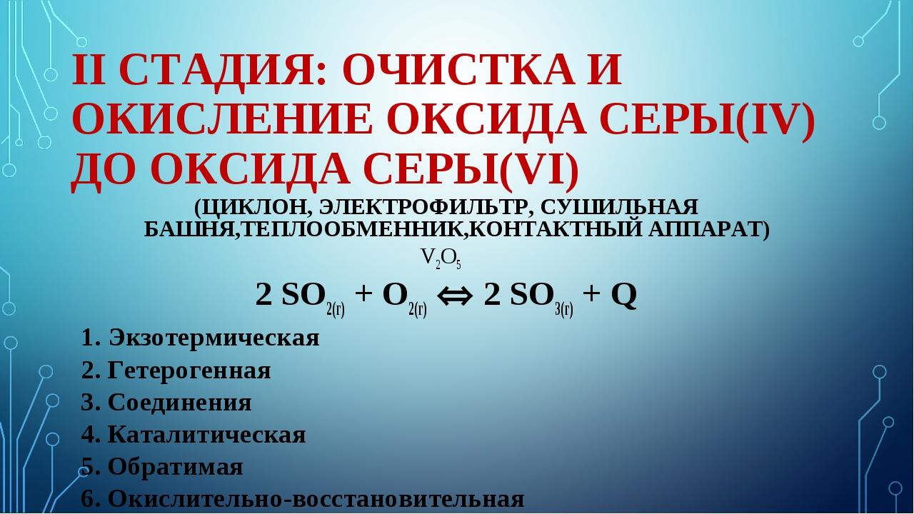 II СТАДИЯ: ОЧИСТКА И ОКИСЛЕНИЕ ОКСИДА СЕРЫ(IV) ДО ОКСИДА СЕРЫ(VI) (ЦИКЛОН, ЭЛ...