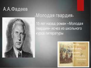 А.А.Фадеев «Молодая гвардия» 15 лет назад роман «Молодая гвардия» исче