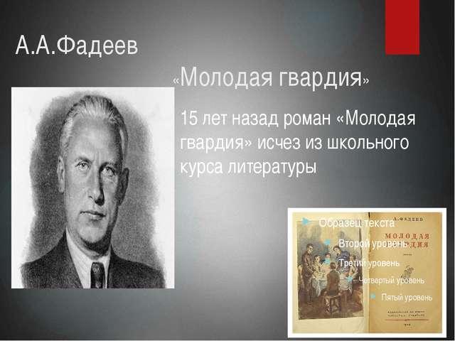 А.А.Фадеев «Молодая гвардия» 15 лет назад роман «Молодая гвардия» исче...