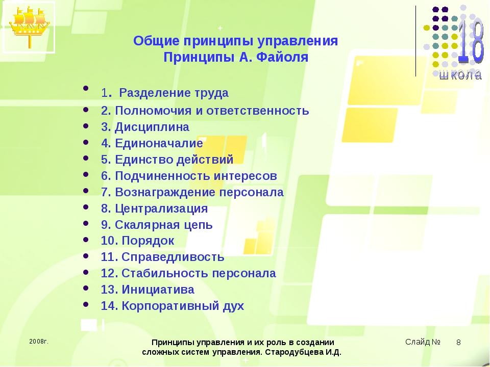 2008г. Принципы управления и их роль в создании сложных систем управления. Ст...