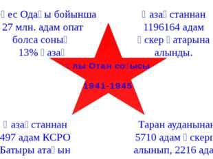 Кеңес Одағы бойынша 27 млн. адам опат болса соның 13% қазақ Қазақстаннан 1196