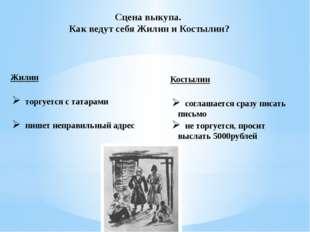 Сцена выкупа. Как ведут себя Жилин и Костылин? Жилин торгуется с татарами пиш