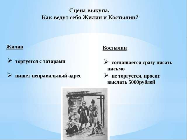 Сцена выкупа. Как ведут себя Жилин и Костылин? Жилин торгуется с татарами пиш...
