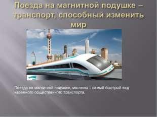 Поезда на магнитной подушке, маглевы – самый быстрый вид наземного общественн