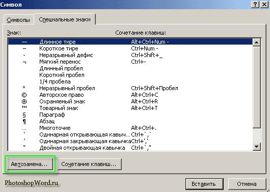Специальные СИМВОЛЫ в Word 2007
