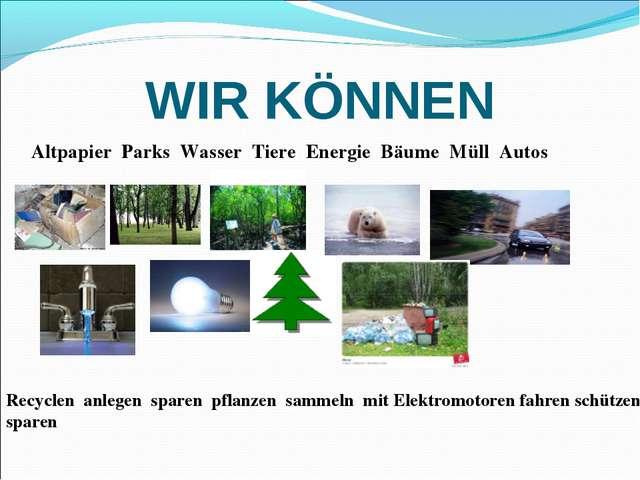 WIR KÖNNEN Altpapier Parks Wasser Tiere Energie Bäume Müll Autos Recyclen anl...