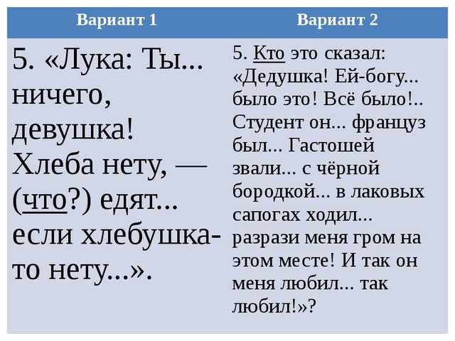 Вариант 1 Вариант 2 5. «Лука: Ты... ничего, девушка! Хлеба нету, — (что?) едя...