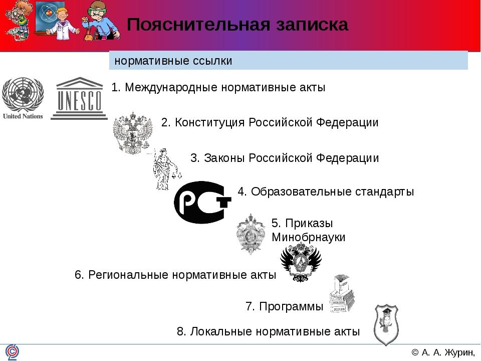 Пояснительная записка нормативные ссылки 1. Международные нормативные акты 2....