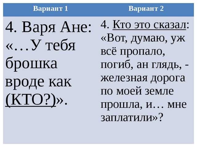 Вариант 1 Вариант 2 4. Варя Ане: «…У тебя брошка вроде как(КТО?)». 4.Кто это...