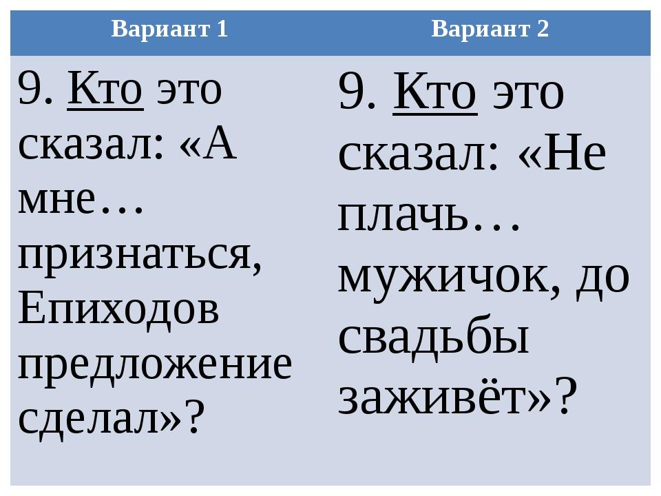 Вариант 1 Вариант 2 9.Ктоэто сказал: «А мне… признаться,Епиходовпредложение с...
