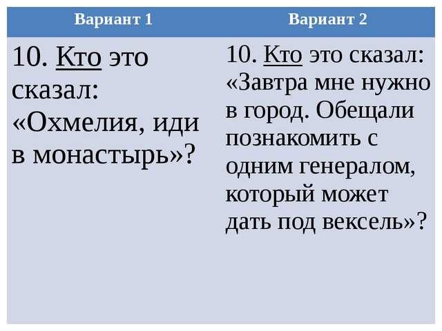 Вариант 1 Вариант 2 10.Ктоэто сказал: «Охмелия, иди в монастырь»? 10.Ктоэто с...