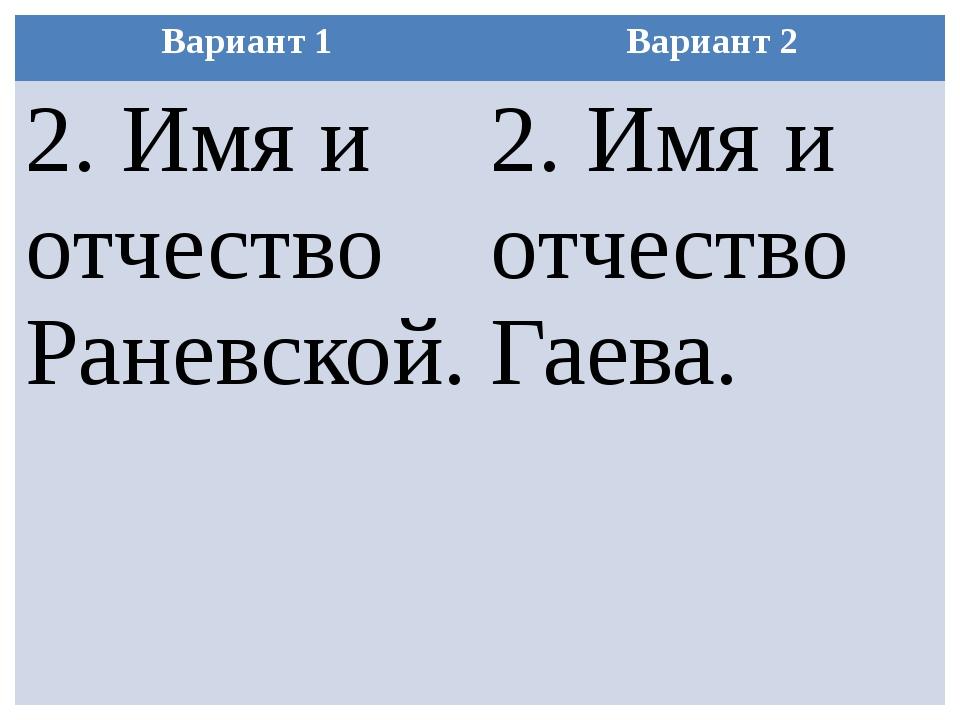 Вариант 1 Вариант 2 2. Имя и отчество Раневской. 2. Имя и отчествоГаева.