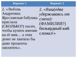 Вариант 1 Вариант 2 2.«Любовь Андреевна: Ярославская бабушка прислала (СКОЛЬК