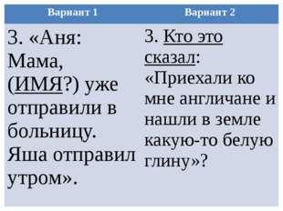 Вариант 1 Вариант 2 3. «Аня: Мама, (ИМЯ?) уже отправили в больницу. Яша отпра