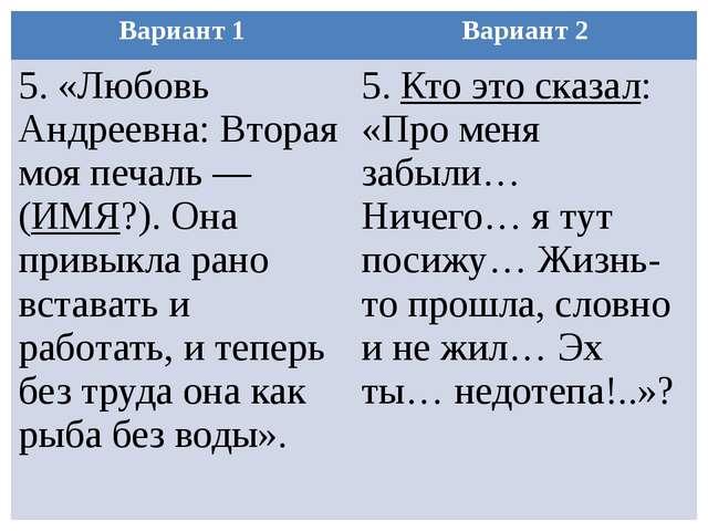 Вариант 1 Вариант 2 5. «Любовь Андреевна: Вторая моя печаль — (ИМЯ?). Она при...