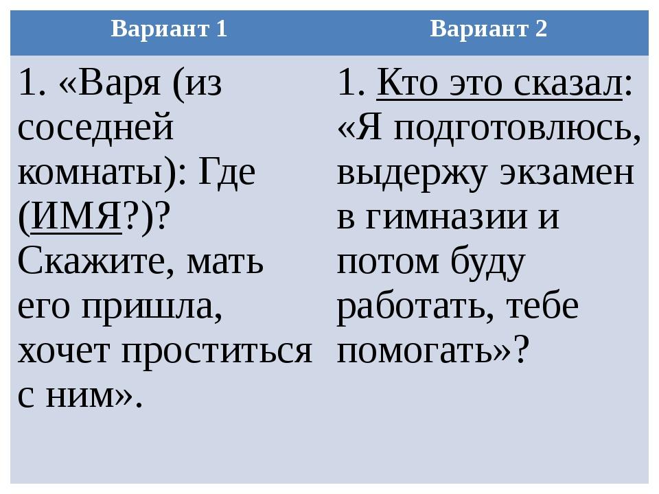 Вариант 1 Вариант 2 1. «Варя (из соседней комнаты): Где (ИМЯ?)? Скажите, мать...