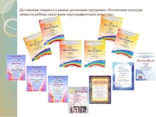 Достижения учащихся в рамках реализации программы «Воспитание культуры личнос