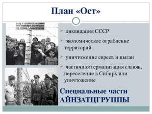 План «Ост» ликвидация СССР экономическое ограбление территорий уничтожение ев