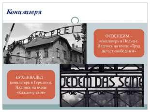 Концлагеря ОСВЕНЦИМ – концлагерь в Польше. Надпись на входе «Труд делает своб