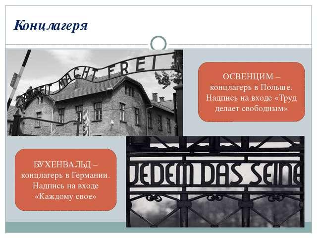 Концлагеря ОСВЕНЦИМ – концлагерь в Польше. Надпись на входе «Труд делает своб...