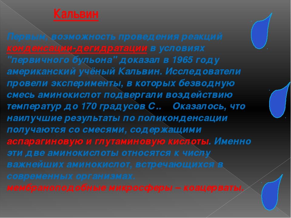Кальвин Первым, возможность проведения реакций конденсации-дегидратации в усл...
