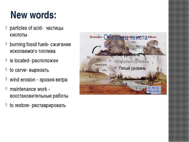 New words: particles of acid- частицы кислоты burning fossil fuels- сжигание...