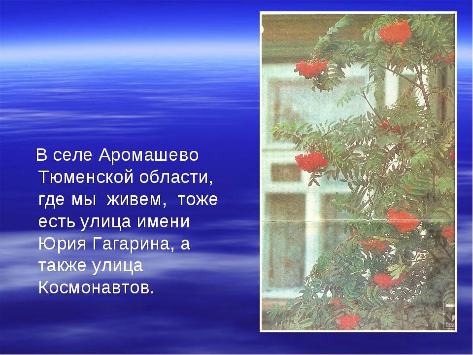 В селе Аромашево Тюменской области, где мы живем, тоже есть улица имени Юрия...