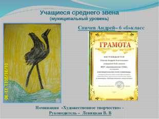 Учащиеся среднего звена (муниципальный уровень) Номинация «Художественное тво