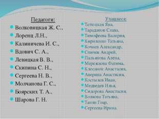 Педагоги: Волковицкая Ж. С., Лоренц Л.Н., Калиничева И. С., Вдович С. А., Лев