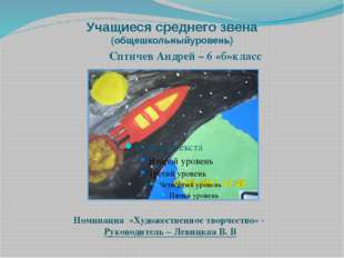 Учащиеся среднего звена (общешкольныйуровень) Сптичев Андрей – 6 «б»класс Ном