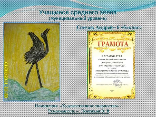 Учащиеся среднего звена (муниципальный уровень) Номинация «Художественное тво...