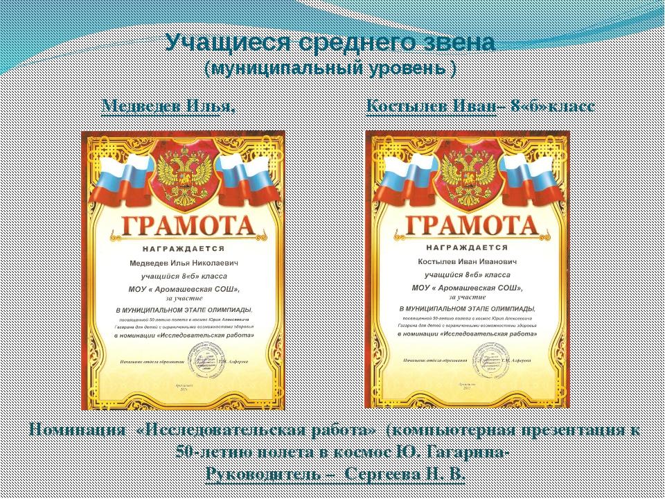Учащиеся среднего звена (муниципальный уровень ) Медведев Илья, Костылев Иван...