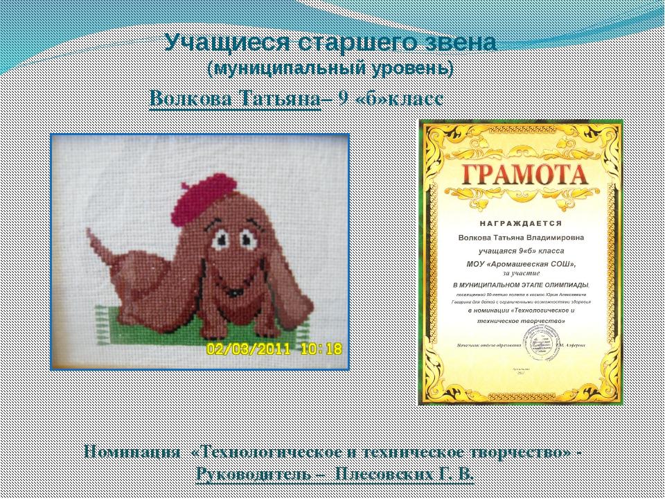 Учащиеся старшего звена (муниципальный уровень) Волкова Татьяна– 9 «б»класс Н...